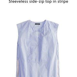 J. Crew sleeveless side zip top in stripe